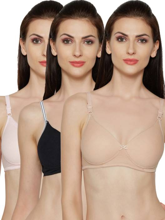 a9d994703f Inner Sense Organic Cotton Antimicrobial Padded Non-wired T-shirt Bra(Pack  Of 3) Women s T-Shirt Lightly Padded Bra (Multicolor)