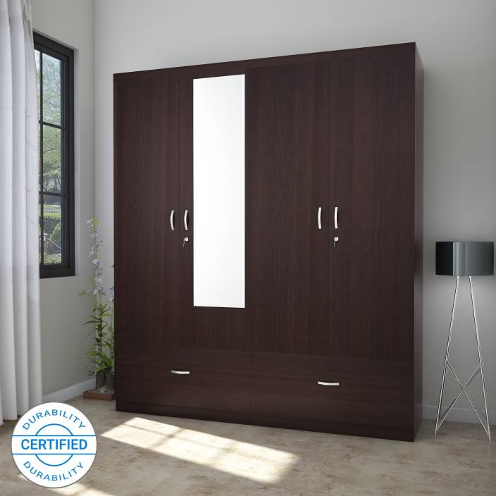 Hometown Utsav Engineered Wood 4 Door Wardrobe Finish Color Wenge Mirror Included