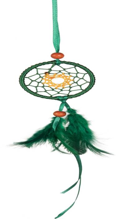 ILU Dream Catcher Car Hanging, Car Mirror Decoration Handmade Beaded Circular Net with Feather Decoration