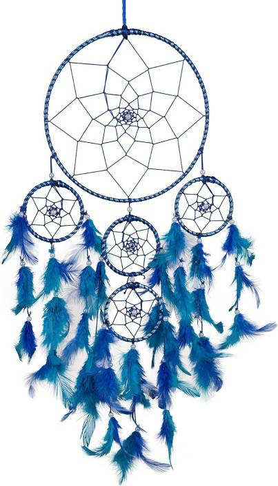 ILU Dream Catcher Wall Hanging Handmade Beaded~ 1 Big and 4 Small Circular Net with Feather Decoration Ornaments Size 21cm Diameter Nylon Windchime (76 inch ...