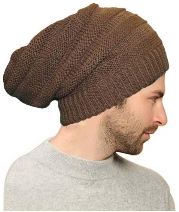 b80c636f4b4 ALAMOS Brown Fur woolen Long Beanie Cap for Winter skull head Unisex Cap -  Buy ALAMOS Brown Fur woolen Long Beanie Cap for Winter skull head Unisex Cap  ...