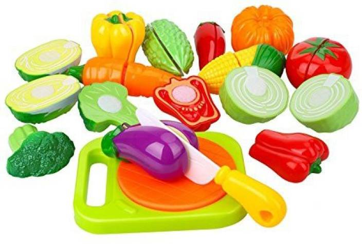 87b3d04bb57d5 Peradix Play Food Cutting Vegetables Set For Kids Pretend Role - Velcro Toy  Kitchen Accessory  With Sticker   Apron  - Play Food Cutting Vegetables Set  For ...