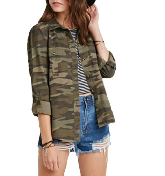 POISON IVY Women s Military Camouflage Casual Shirt - Buy POISON IVY Women s  Military Camouflage Casual Shirt Online at Best Prices in India  cad36a1846b