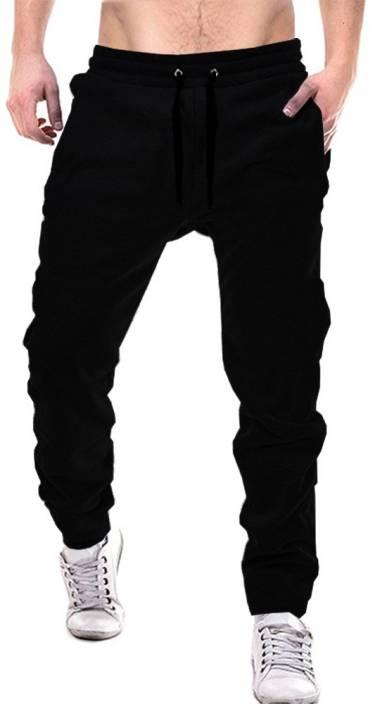 Tripr Solid Men Black Track Pants