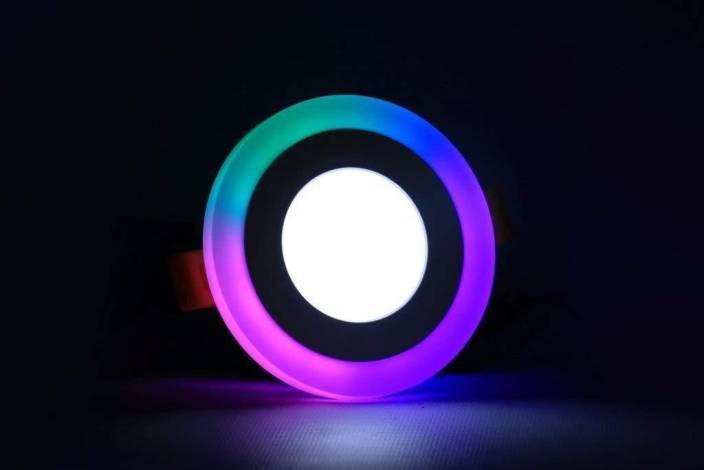 D'Mak 5 Watt Round PGB Color Multicolor Effect 3D Led Panel Light (Pack of  01) Flush Mount Ceiling Lamp