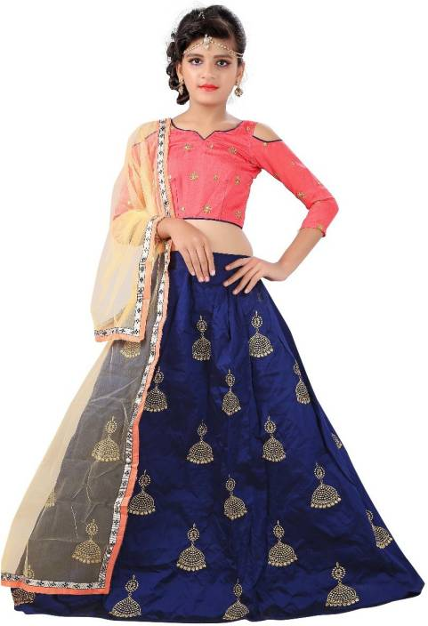 F Plus Fashion Girl's Lehenga Choli Party Wear Embroidered Lehenga, Choli and Dupatta Set