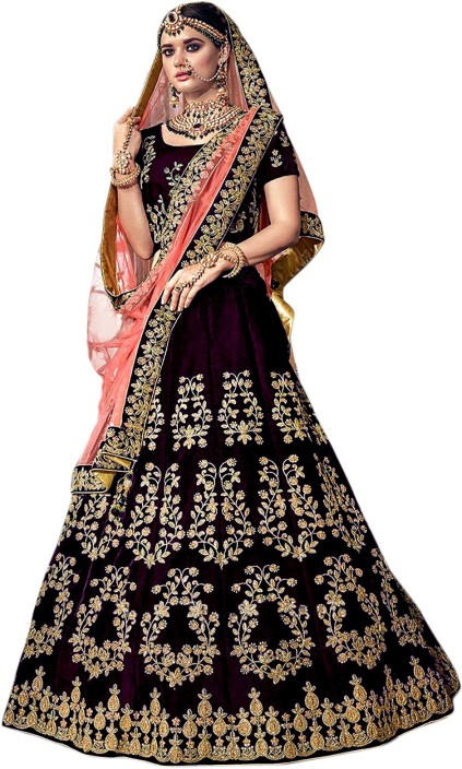 951f02a0569 Shree impex embroidered semi stitched lehenga choli and dupatta set purple  jpeg 423x704 Stitched lehnga