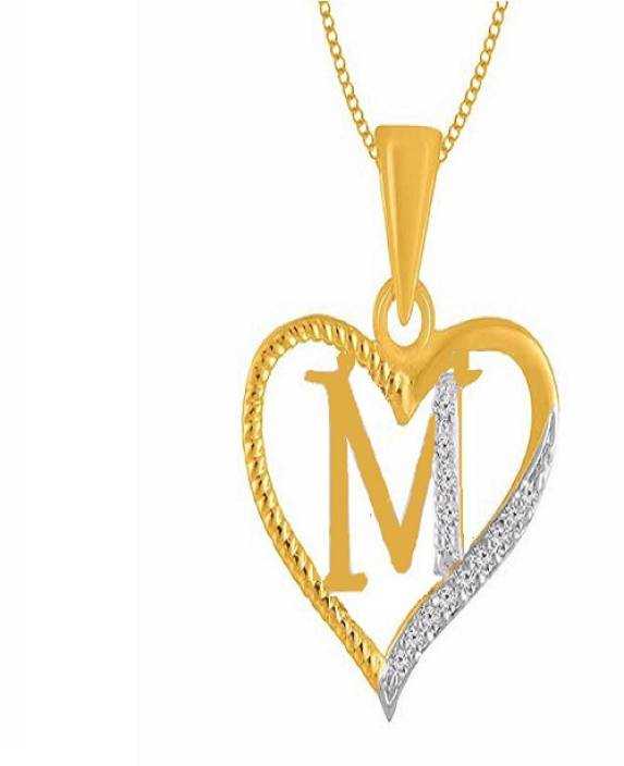 10061a62f2a2d Kanak Jewels Alphabet Letter M in Heart shaped With Chain Gold-plated Cubic  Zirconia Brass Pendant Price in India - Buy Kanak Jewels Alphabet Letter M  in ...