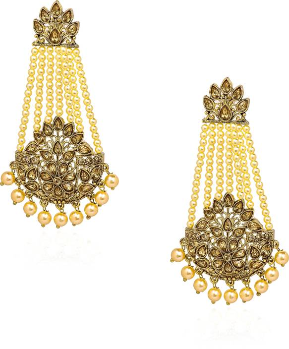8501e237b Eliviya Fashion Indian Traditional Rajwara Style Gold Plated Antique  Stylish and Fancy Party Wear Danglers with