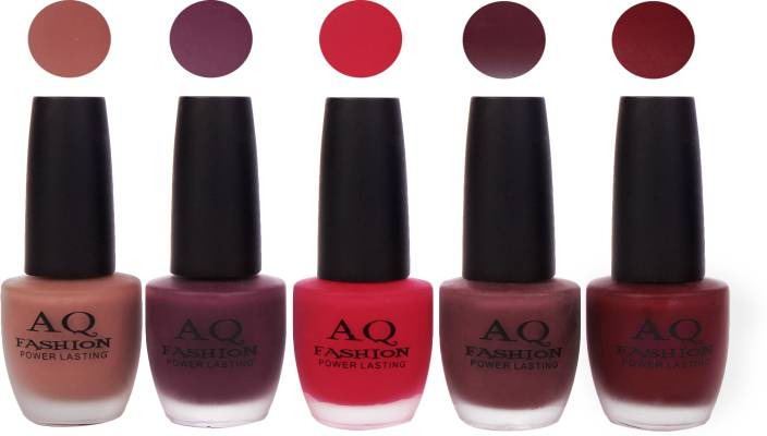 AQ Fashion Velvet Matte Nail polish Combo set 829 Nude Brown,Plum ...