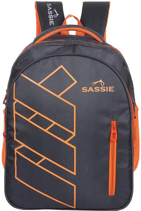 Sassie Black Orange Smart School Bag II Backpack II Multiuse bag (41 Liters) (SSN-1081) Waterproof School Bag