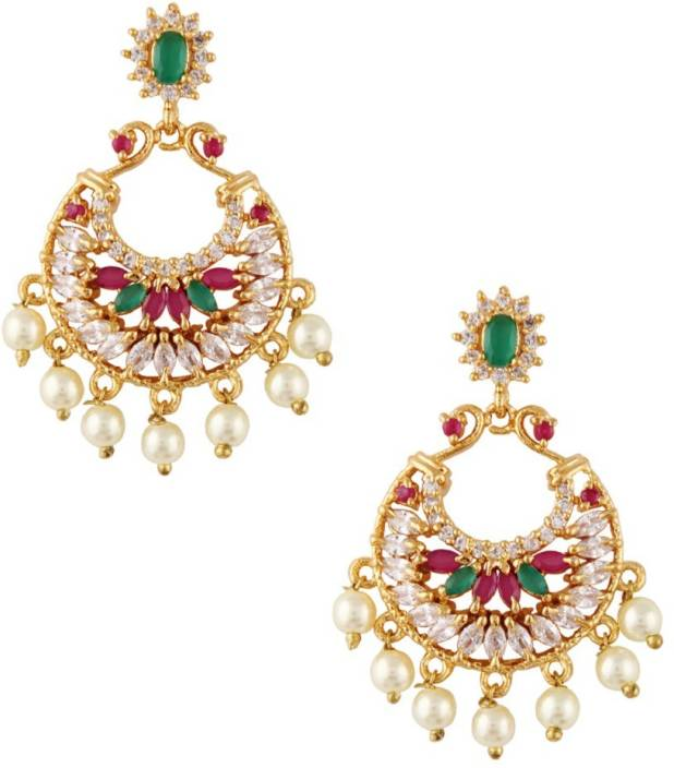 cbadd62c9 Flipkart.com - Buy RUBANS Finely Handcrafted Gold Plated CZ and Faux Ruby  And Emerald Stone Studded Chandbali Earrings Metal Chandbali Earring Online  at ...