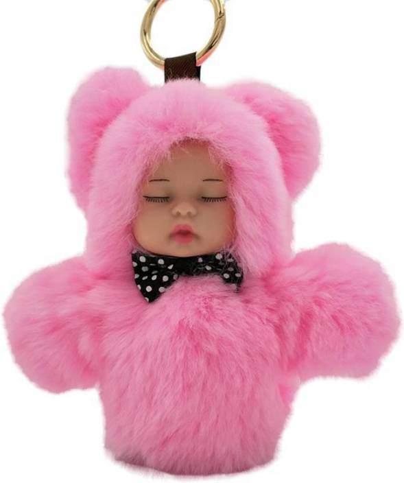 DALUCI Cute Sleeping Baby Doll 13cm Key Chain Real Rabbit Fur Keychain  Fluffy Pom Pom Keyring Bag Car For Women Key Chain Price in India - Buy  DALUCI Cute ... adcabac3eb62