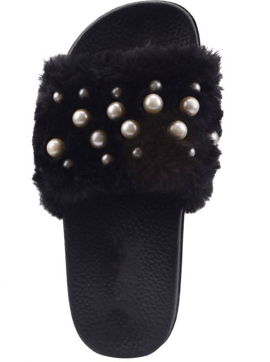 e354f88ac89b Royalex Cotton Fur Pearl Studded Flip Flop for Women (Black) - 7 Slides -  Buy Royalex Cotton Fur Pearl Studded Flip Flop for Women (Black) - 7 Slides  Online ...