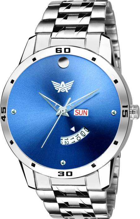 Abrexo Abx0104-BL BLUE DAIL Day and Date Watch - For Men