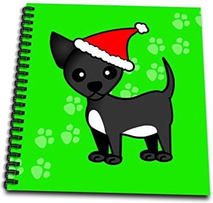 801a494a4bd38 3dRose db 12082 2 Cute Black Chihuahua Green with Santa Hat Memory Book