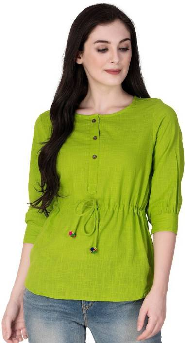 GMI Casual 3/4th Sleeve Solid Women's Green Top