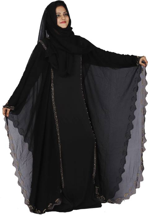 87ed02b9646a DC Women's Dubai Butterfly Stone Work abaya Islamic Lycra, Georgette Solid,  Self Design Abaya With Hijab (Black)