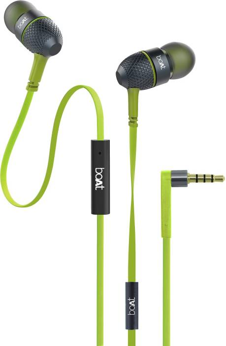 boAt BassHeads 220 Super Extra Bass Wired Headset with Mic (Neon Lime, In the Ear)