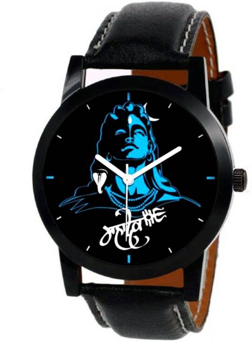 ADIXION M Mahadev Watch with Black Leather Strap (Lord Siva) Watch - For Men & Women