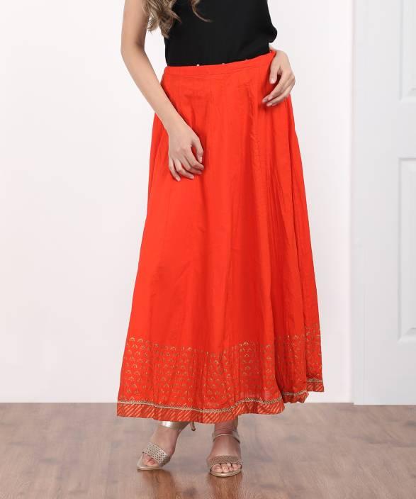 a0eec634c9dd Biba Solid Women's Regular Orange Skirt - Buy ORG Biba Solid Women's ...