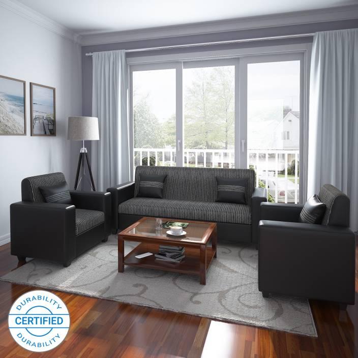 Flipkart Perfect Homes Crete Leatherette and Fabric 3 + 1 + 1 Black ...