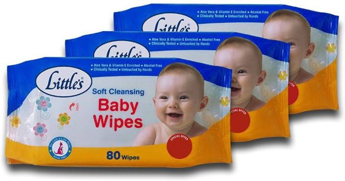 Littles Soft Cleansing Baby Wipes (Pack of 3, 80 Wipes)