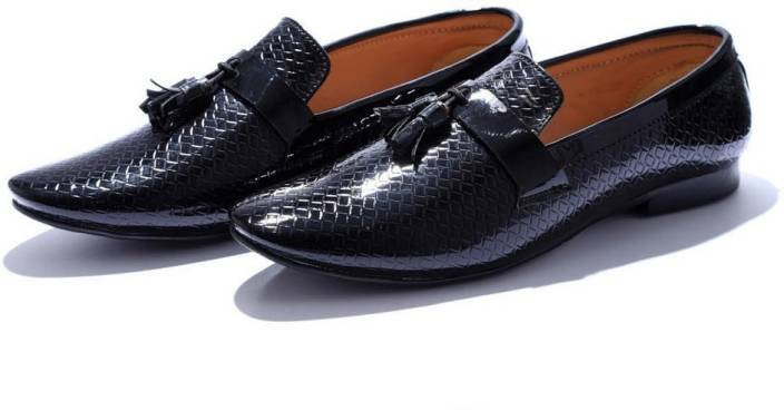 7b146c37314 Hush Berry Oxford Patent Textured Tuxedo Comfortable Business Loafer Shoes  Slip On For Men (Black)