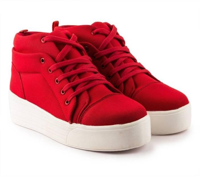 2ada5b4c488 Long Walk Girls Canvas Heel Sneakers For Women - Buy Red Color Long ...