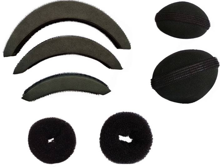 CartKIng Hair Style DONUT Perfect BUN- JUDA Maker Tool For Women - Hair Bumpits - Puff/Puffs Maker For Girls-Women (Combo of 7)- Black Hair Accessory Set, Bun