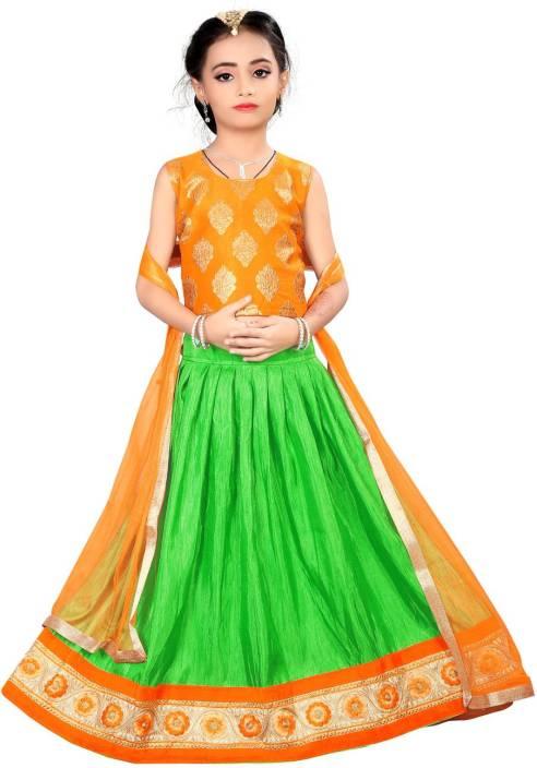 856e4d5cad Arrow Fashion Girls Lehenga Choli Ethnic Wear Printed Lehenga Choli (Green,  Pack of 1)