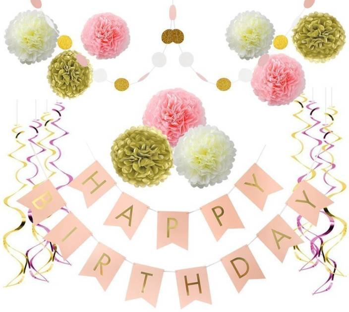 Factory 21 Pink And Gold Birthday Decorations Pom Poms Flowers Kit Happy Banner