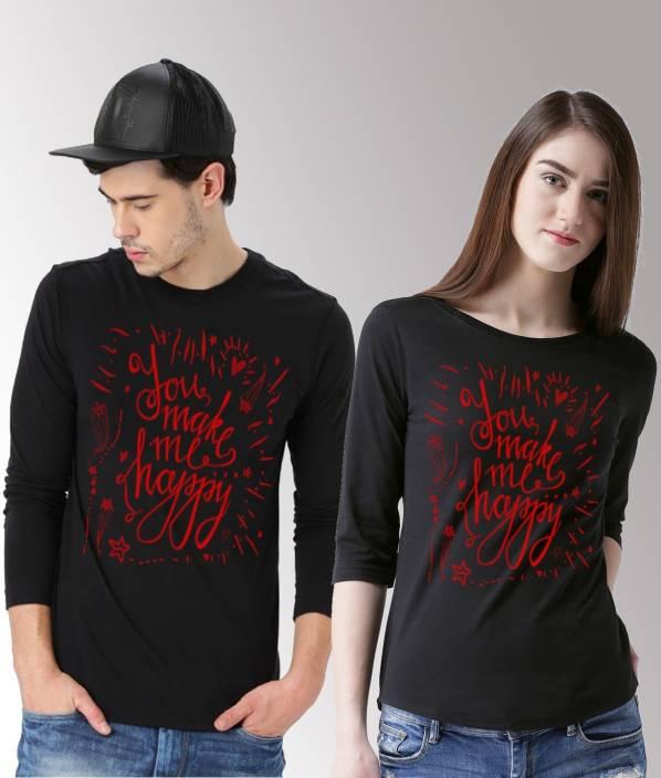 390e0ab4e4 DUO COUPLE Typography Men & Women Round Neck Black, Red T-Shirt - Buy DUO  COUPLE Typography Men & Women Round Neck Black, Red T-Shirt Online at Best  Prices ...