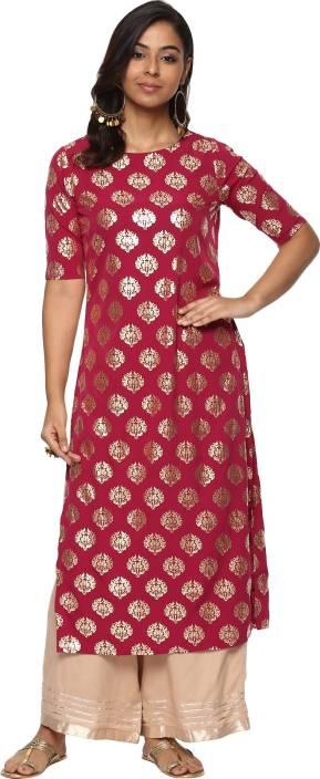 Billion Rang Nitya Printed Women Straight Kurta