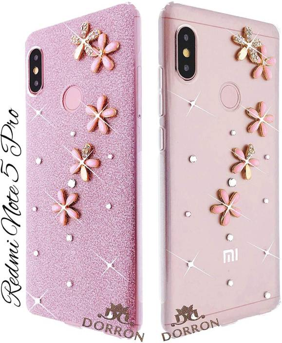 new arrival 84500 5b4ea DORRON Back Cover for Mi Redmi Note 5 Pro Glitter Bling 3D Flowers Soft TPU  Fancy Back Cover