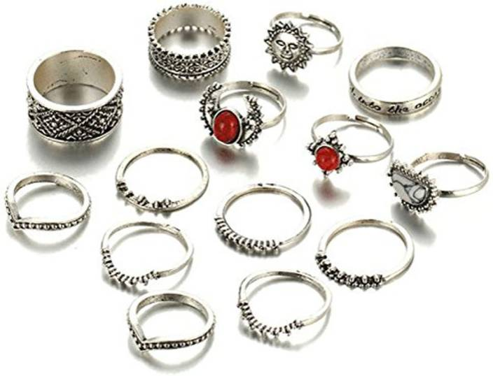Karatcart Karatcart Antique Oxidised Silver Colour Bohemian Midi Rings for Women Alloy Ring Set