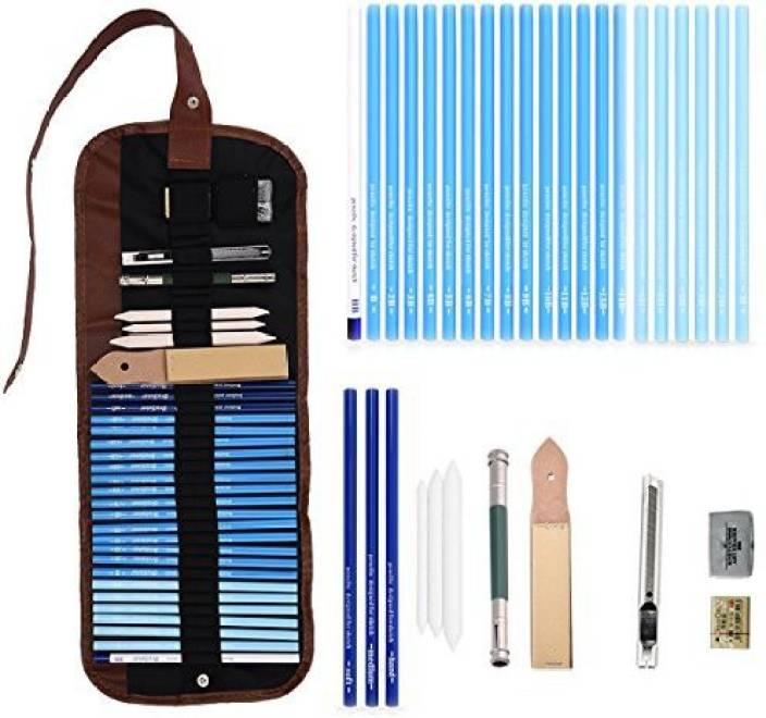 Woot direct Sketch Pencil Drawing Pencil Set,33 Pieces Art Set of Graphite& Charcoal Pencils, Erasers,Craft Knife,Pencil Extender,Canvas Rol - Sketch Pencil ...