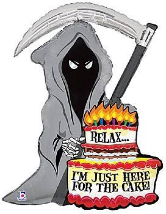 Betallic Grim Reaper Birthday Cake Candles 35 Balloon Mylar