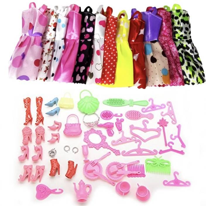 27b2bd82adab iDream 10pcs Doll Dress & 50pcs Doll Accessories (Combo Pack) Compatible  With Barbie Doll