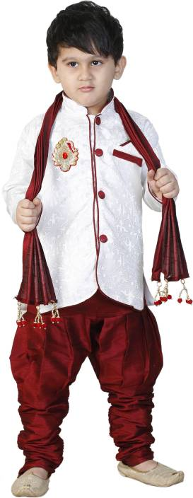 SBN RED SHERWANI WITH DUPPATA Boys Festive & Party Kurta and Pyjama Set