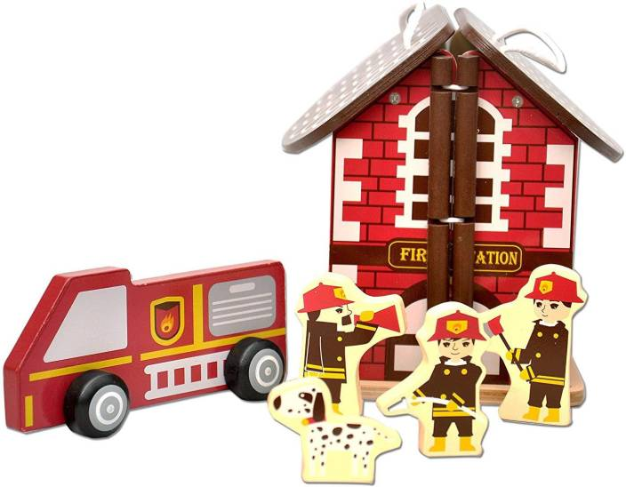 Toyshine Wooden Fire Station Doll House Toy Wooden Fire Station