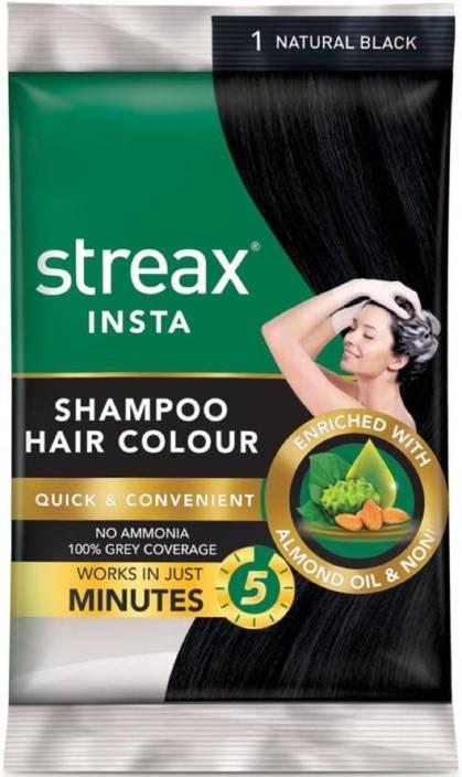 Streax Insta Shampoo Hair Colour-Natural Black(Pack of 16) Hair Color