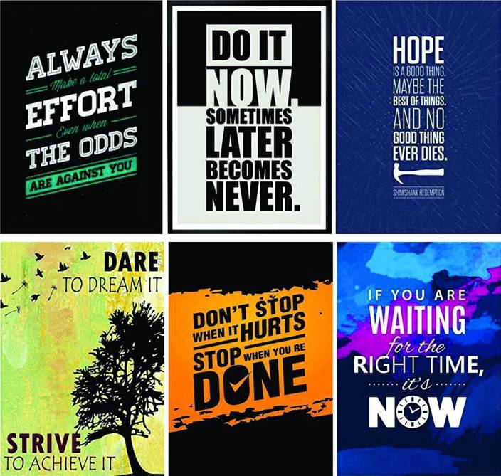 Nytt Combo Pack of 6 Motivational Wall Posters and Inspirational Quotes NJ-55