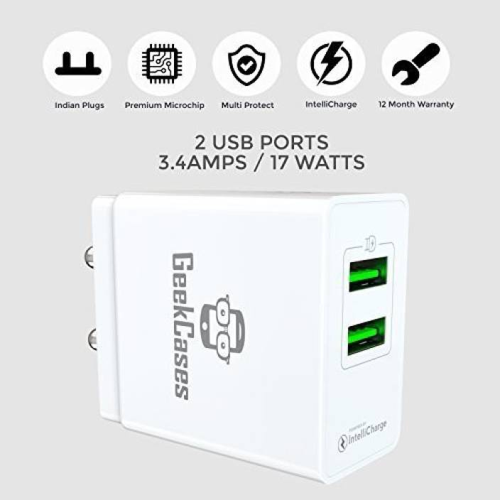 GeekCases ZipCube 2USB Wall Charger [with 1 2M Micro USB Cable / Indian  Pins / IntelliCharge IC / 3 4A - 17 Watts / 4 Fail Safety] Mobile Charger