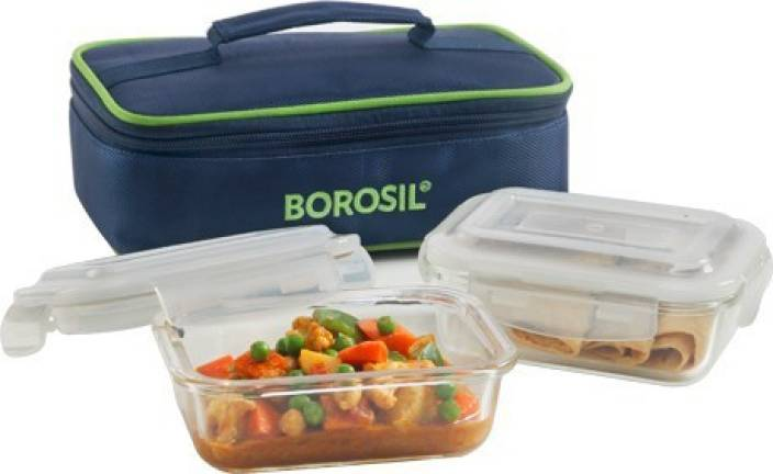 cf23be10fcf3 Borosil Microwavable Klip N Store Rectangular Lunch Box Horizontal Set of 2  Containers Lunch Box
