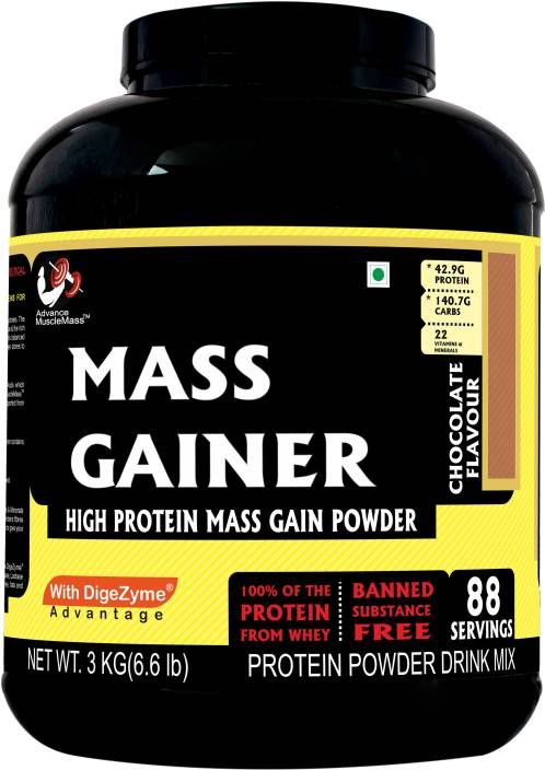 8a5ce4f5f75 Advance MuscleMass Mass gainer 3 kg 6.6 lb (Chocolate) with Digezyme (a  blend of digestive enzymes) Weight Gainers Mass Gainers (3 kg