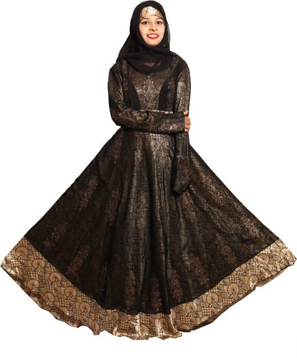7a523b4a4e66 Just Khatoon ABA000169 Georgette and Lycra Soft, Hijab, Designer Burka,  Hijaab and Burka/Abaya Self Design Abaya With Hijab (Black, Gold)