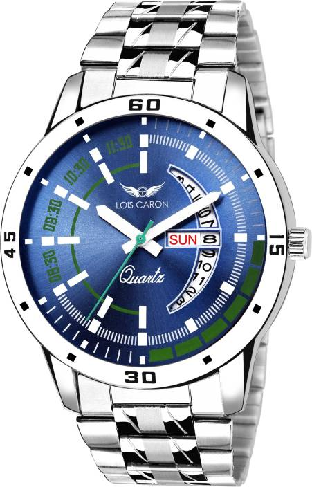 Lois Caron LCS-8075 BLUE DIAL DAY & DATE FUNCTIONING Watch - For Men
