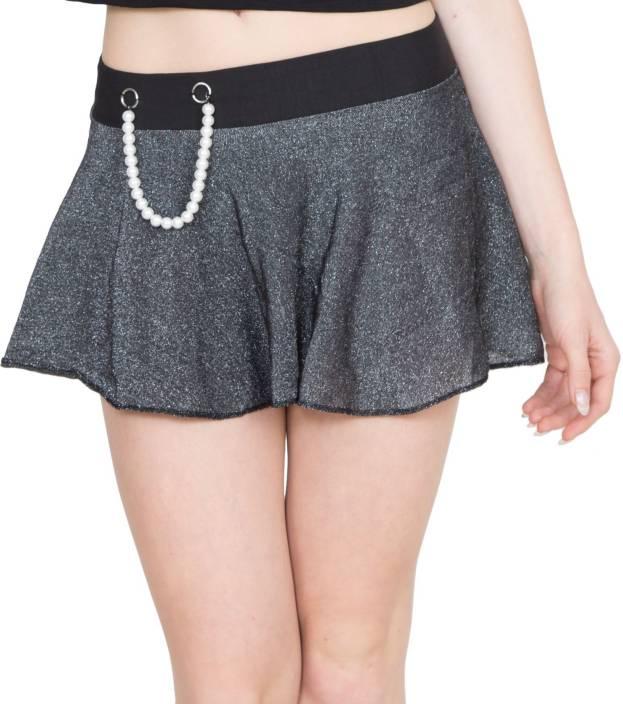 Madaam Solid Women A-line Black, Grey Skirt