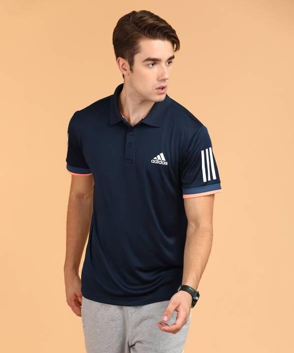 97dd70ef ADIDAS Solid Men Polo Neck Dark Blue T-Shirt - Buy ADIDAS Solid Men Polo  Neck Dark Blue T-Shirt Online at Best Prices in India   Flipkart.com